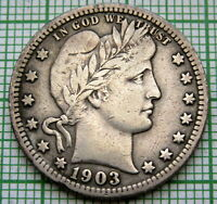 UNITED STATES 1903 BARBER QUARTER - 25 CENTS, SILVER PATINA