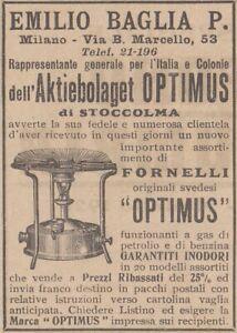 V2195 Hob Optimus - Emiglio Baglia P Milano - 1922 Advertising Classic