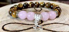 Love and Strength Star 10mm Arose Quartz And tigar Eye Beads Bracelet