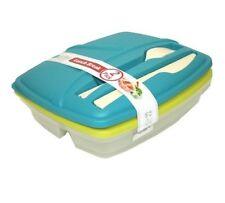Bramli Lunch Kit 2-Pack Set; Green & Teal-So cool.....fork and knife built in!!