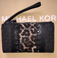 Michael Kors Jet Set Double Zip Black Logo Studded Wristlet Wallet w/ Calf Hair