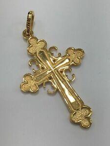 18ct 18K 750 Yellow Gold Orthodox Cross Crucifix Pendant 6.3 Grams. Brand New