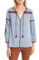 Joie Blue Cotton Chambray Embroidered Tie Neck Marlen Tunic Blouse SZ XS