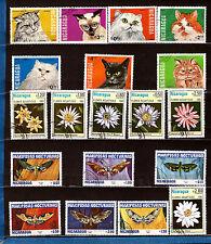 NICARAGUA Les papillons,,fleurs aquatiques,différents chats 314T6