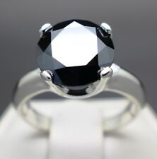 3.50cts 10.04mm Real Natural Black Diamond Engagement Size 6 Ring & $1950 Value