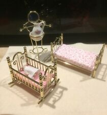 Dolls House Metal Bed (single), Cot with Baby Doll, and Washstand,