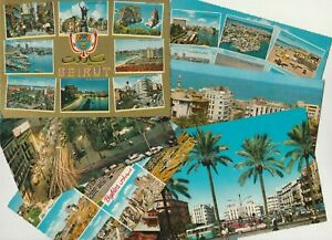 LEBANON old Rare 7 P.C. Showing Views from Beirut Streets & Buildings 50th