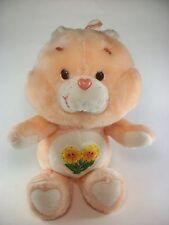 "Vtg. 1983 Kenner FRIEND Care Bear peach  /  yellow flowers  13"" Stuffed Plush"