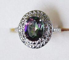 Northern Lights Mystic Topaz & Diamond Ring in Sterling Silver sz 6