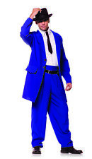 Zoot Suit Blue 1920s 1940s Gangster Mobster Mob Men Costume One Size