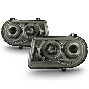Fit Chrysler 05-10 300C Smoke Dual Halo LED Projector Headlights C Sedan C SRT-8