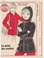 Patron couture à décalquer Echo de la Mode 1975 N°36 Parka 10 et 12 ans
