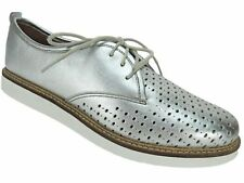 Clarks Women's Glick Resseta Lace-Up Oxford Flats Silver Leather Size 9 M