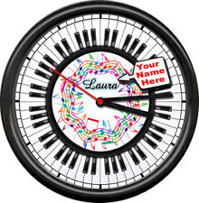 Personalized Your Name Piano Pianist Music Room Teacher Sign Shop Wall Clock