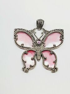 Signed SARDA 925 Sterling Silver large Pink Mother of Pearl Butterfly Pendant