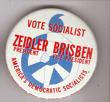1976 Zeidler & Brisben pin SOCIALIST Third PARTY pinback PEACE Sign CIVIL RIGHTS