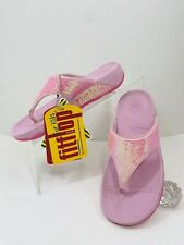 NEW FitFlop Electra Girl Pink Sequin  Thong Flip Flop Kid Sandals Shoes Sz 3