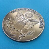 "2 1/2"" Military Service Medallion United States Seal Flag Case Dash Plaque Gold"