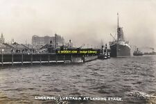 rp14011 - Cunard Liner - Lusitania at Liverpool Stage - photo 6x4