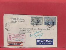Registerd Air Mail Peace issue ETIQUETTE LABEL many backstamps Canada cover