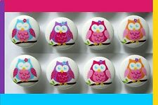 8  COLORFUL OWL  GIRLS KIDS DRESSER DRAWER KNOBS MADE AS ORDERED