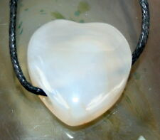 Large Flame Agate Heart Crystal Gemstone Pendant Necklace Reiki Blessed Gift Bag