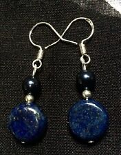 Lapis Lazuli and Swarovski Midnight Blue Pearl, Sterling Silver Earrings