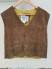 Pioneer Wear Suede Leather Western Cowboy Jacket Vest Fur Lining Mens 42 Vintage