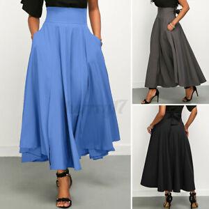 Womens Retro Skirts High Waist Long Plain Skirt Dress Oversized Swing Skirts UK