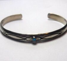 Southwestern Edward Platero Sterling Silver Turquoise Stone Etched Cuff Bracelet