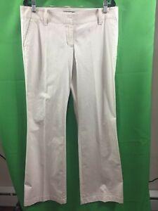 8633) ANN TAYLOR 10 beige cotton stretch pants flare trouser leg low rise