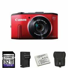 Canon PowerShot SX240 HS Digital Camera - Red + 2 Batteries, 32GB + More!