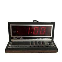 Vtg Spartus Apollo Model 1140 Apollo Alarm Clock Faux Wood Grain Tested