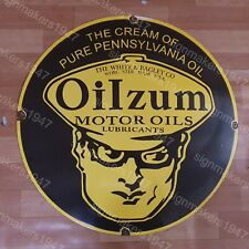 OILZUM MOTOR OILS PORCELAIN ENAMEL SIGN 30 INCHES ROUND