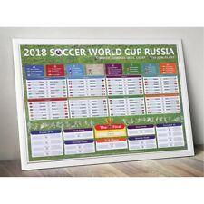 2018 World Cup Match Schedule Sticker Football Wall Chart Poster Calender K6
