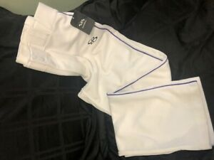 Boombah Pants White with Purple Stripe, Size 36