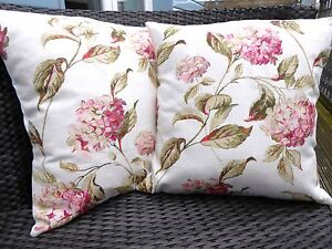 TWO LAURA ASHLEY HANDMADE CUSHIONS IN HYDRANGEA PINK NATURAL
