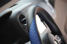 "14.75"" Racing Black & Blue Steering Wheel Cover Wrap PVC Leather 47012 Medium"