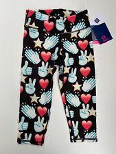 GAP Fit Girls Tight Fit Leggings 3/4 Pants S Small 6-7 Black Heart Star Thumb Up