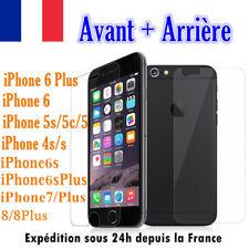 Vitre protection protège écran AVANT+ARRIÈRE Film Verre Trempé iPhone 7,6,5,SE,8