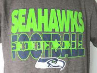 GRAY SEATTLE SEAHAWKS FOOTBALL TEE SHIRT green hawks washington NFL Med majestic