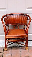 ANTIQUE 19c CHINESE BAMBOO RATTAN CHILD ARM CHAIR