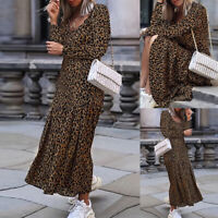 ZANZEA UK Women Long Sleeve V Neck Casual Loose Dress Leopard Print Maxi Dresses