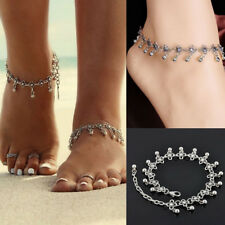 Jewelry Silver Color Flower Ankle Chain 1Pair Fashion Charm Anklets Vintage Foot