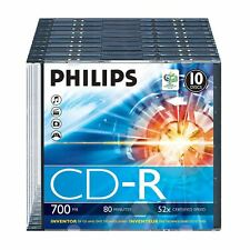 Philips CD-R 80 Minutes 700MB 52X speed Recordable Blank Discs - 10 Pack w/ Case