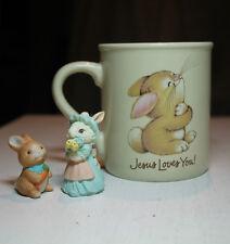 vtg mug mates Hallmark Jesus Loves Me Bunny rabbit cup & 2 little bunny figurine