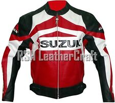 Suzuki Biker Motorcycle Racer Genuine Cowhide Leather Rider Jacket with Armour