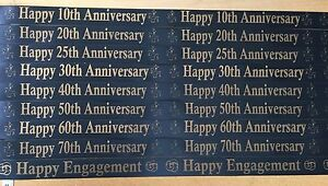 Happy Birthday And Anniversary Ribbon - Various Ages and Years - 1 or 3 metres