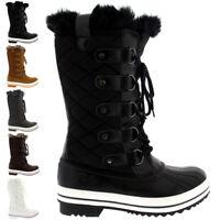 Ladies Snow Boot Nylon Tall Winter Waterproof Fur Lined Warm Rain Boot All Sizes