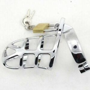 Male Chastity Cage Device  Chrome plated steel  Metal  45mm ring.